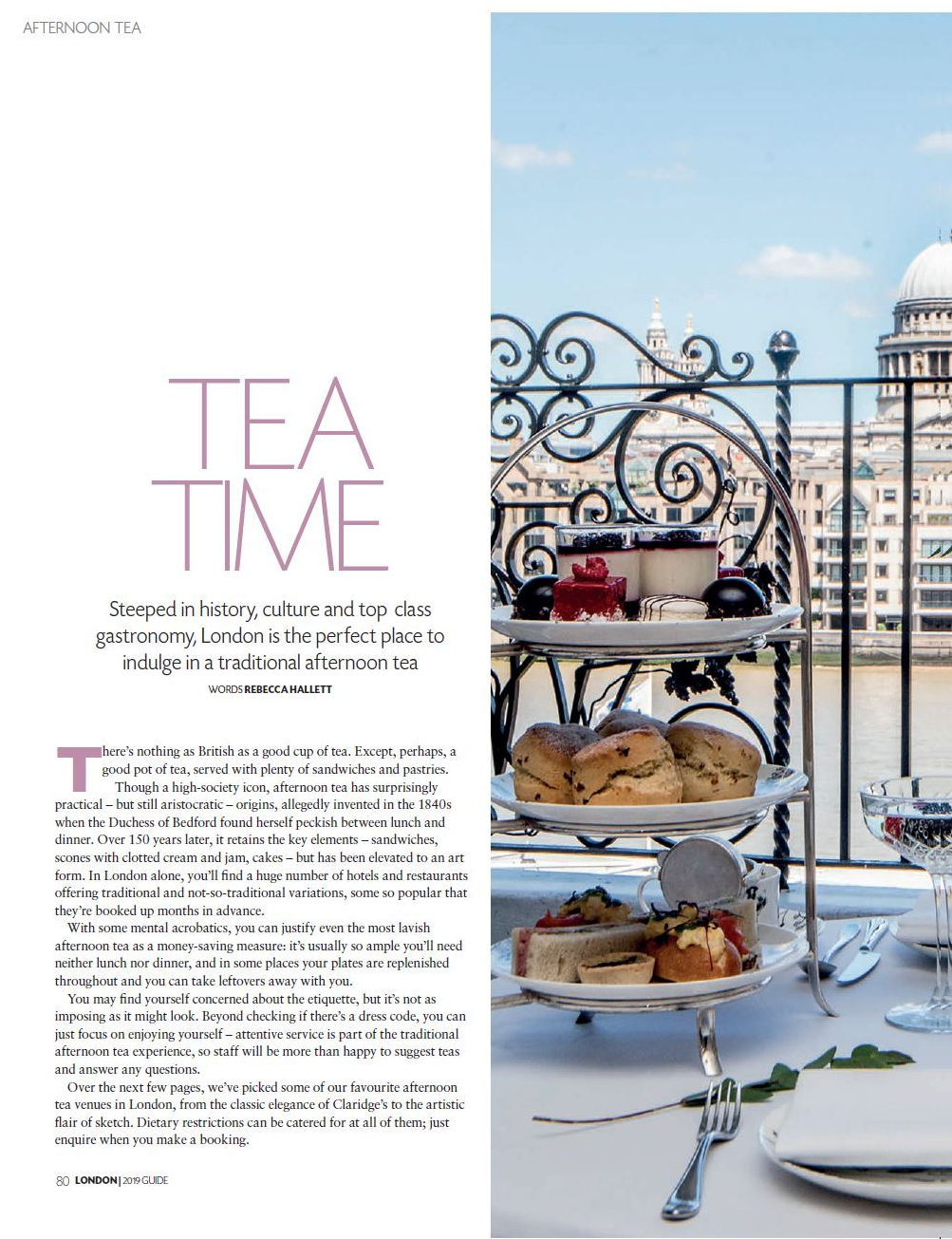 Afternoon tea Britain Magazine Rebecca Hallett